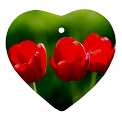 Three Red Tulips, Green Background Heart Ornament (two Sides) by FunnyCow
