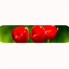 Three Red Tulips, Green Background Large Bar Mats by FunnyCow