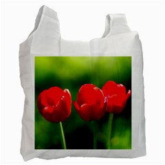 Three Red Tulips, Green Background Recycle Bag (one Side)