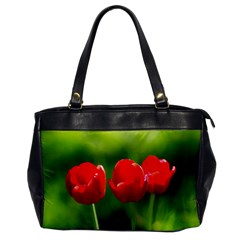 Three Red Tulips, Green Background Oversize Office Handbag
