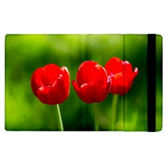 Three Red Tulips, Green Background Apple Ipad 2 Flip Case
