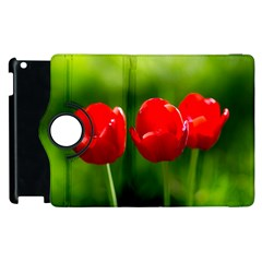 Three Red Tulips, Green Background Apple Ipad 3/4 Flip 360 Case by FunnyCow