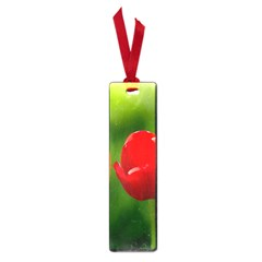 Three Red Tulips, Green Background Small Book Marks by FunnyCow
