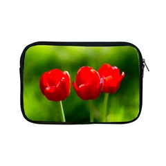 Three Red Tulips, Green Background Apple Ipad Mini Zipper Cases by FunnyCow