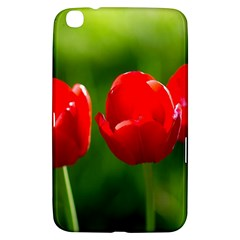 Three Red Tulips, Green Background Samsung Galaxy Tab 3 (8 ) T3100 Hardshell Case  by FunnyCow