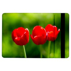 Three Red Tulips, Green Background Ipad Air Flip by FunnyCow