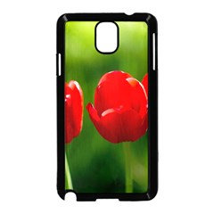 Three Red Tulips, Green Background Samsung Galaxy Note 3 Neo Hardshell Case (black) by FunnyCow