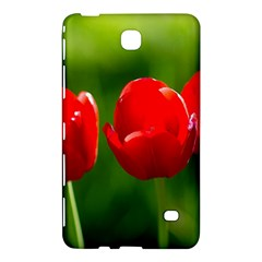 Three Red Tulips, Green Background Samsung Galaxy Tab 4 (8 ) Hardshell Case  by FunnyCow