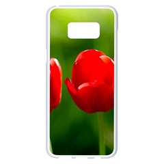 Three Red Tulips, Green Background Samsung Galaxy S8 Plus White Seamless Case