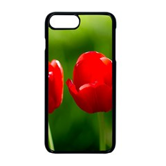 Three Red Tulips, Green Background Apple Iphone 8 Plus Seamless Case (black) by FunnyCow