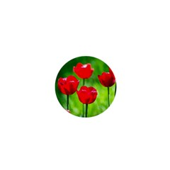 Red Tulip Flowers, Sunny Day 1  Mini Buttons by FunnyCow