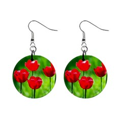 Red Tulip Flowers, Sunny Day Mini Button Earrings by FunnyCow
