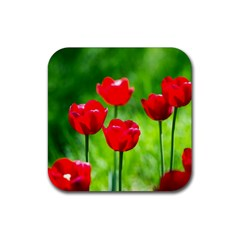 Red Tulip Flowers, Sunny Day Rubber Square Coaster (4 Pack)  by FunnyCow