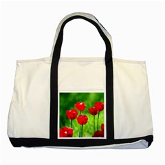 Red Tulip Flowers, Sunny Day Two Tone Tote Bag