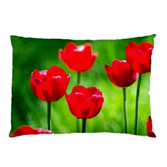 Red Tulip Flowers, Sunny Day Pillow Case by FunnyCow