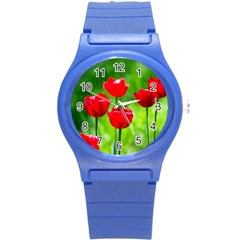 Red Tulip Flowers, Sunny Day Round Plastic Sport Watch (s)