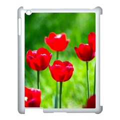 Red Tulip Flowers, Sunny Day Apple Ipad 3/4 Case (white) by FunnyCow