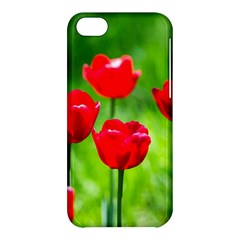 Red Tulip Flowers, Sunny Day Apple Iphone 5c Hardshell Case by FunnyCow