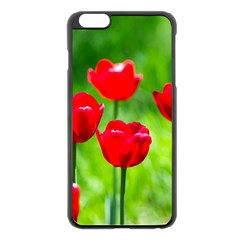 Red Tulip Flowers, Sunny Day Apple Iphone 6 Plus/6s Plus Black Enamel Case by FunnyCow