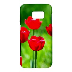 Red Tulip Flowers, Sunny Day Samsung Galaxy S7 Hardshell Case  by FunnyCow