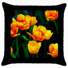 Yellow Orange Tulip Flowers Throw Pillow Case (black) by FunnyCow