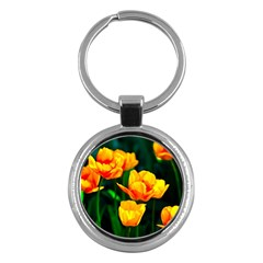 Yellow Orange Tulip Flowers Key Chains (round)  by FunnyCow