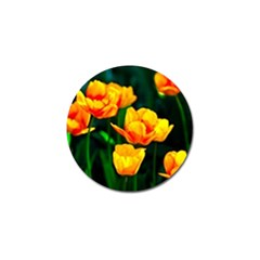 Yellow Orange Tulip Flowers Golf Ball Marker by FunnyCow