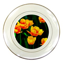 Yellow Orange Tulip Flowers Porcelain Plates by FunnyCow