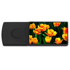 Yellow Orange Tulip Flowers Rectangular Usb Flash Drive by FunnyCow
