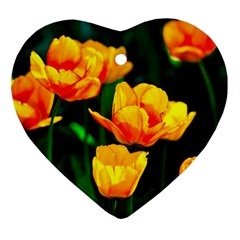 Yellow Orange Tulip Flowers Heart Ornament (two Sides) by FunnyCow