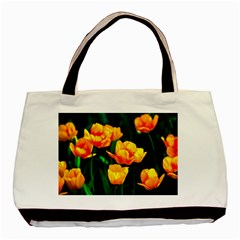 Yellow Orange Tulip Flowers Basic Tote Bag (two Sides)