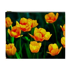 Yellow Orange Tulip Flowers Cosmetic Bag (xl) by FunnyCow