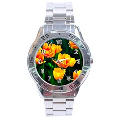 Yellow Orange Tulip Flowers Stainless Steel Analogue Watch