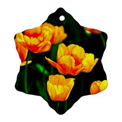Yellow Orange Tulip Flowers Snowflake Ornament (two Sides)