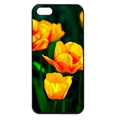 Yellow Orange Tulip Flowers Apple Iphone 5 Seamless Case (black) by FunnyCow
