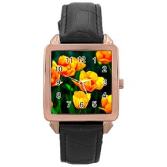Yellow Orange Tulip Flowers Rose Gold Leather Watch