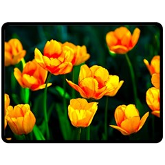 Yellow Orange Tulip Flowers Double Sided Fleece Blanket (large)  by FunnyCow