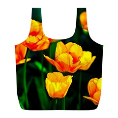 Yellow Orange Tulip Flowers Full Print Recycle Bag (l) by FunnyCow