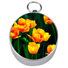 Yellow Orange Tulip Flowers Silver Compasses by FunnyCow