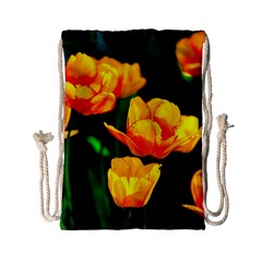 Yellow Orange Tulip Flowers Drawstring Bag (small) by FunnyCow