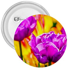 Violet Tulip Flowers 3  Buttons by FunnyCow