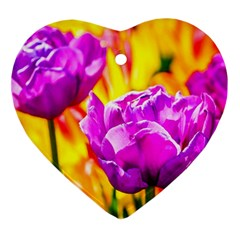 Violet Tulip Flowers Ornament (heart) by FunnyCow