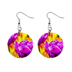 Violet Tulip Flowers Mini Button Earrings by FunnyCow