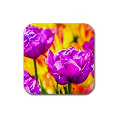Violet Tulip Flowers Rubber Coaster (square)  by FunnyCow