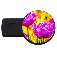 Violet Tulip Flowers Usb Flash Drive Round (2 Gb)