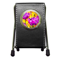 Violet Tulip Flowers Pen Holder Desk Clock by FunnyCow