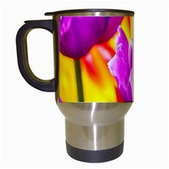 Violet Tulip Flowers Travel Mugs (white) by FunnyCow