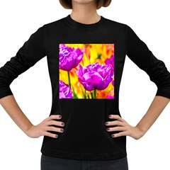 Violet Tulip Flowers Women s Long Sleeve Dark T Shirt