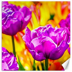 Violet Tulip Flowers Canvas 16  X 16  by FunnyCow