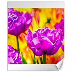 Violet Tulip Flowers Canvas 16  X 20  by FunnyCow